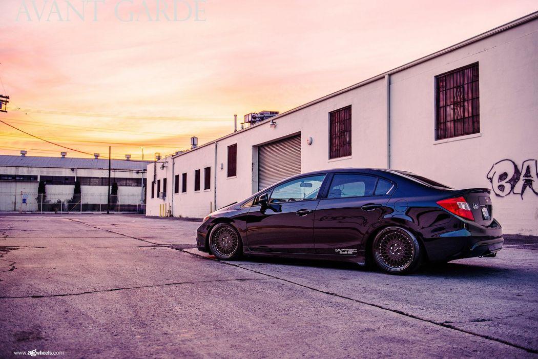 black honda civic sedan cars wallpaper