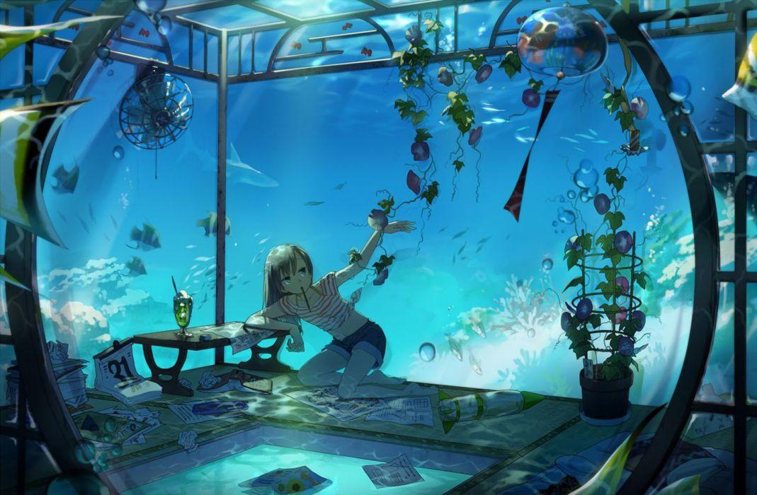 anime girl pretty beautiful long hair ocean fish wallpaper