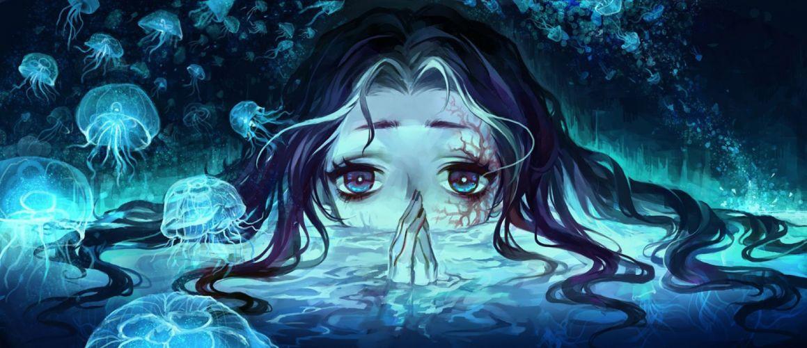 fantasy girl woman beautiful face water long hair under wallpaper
