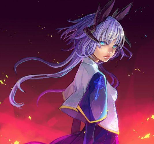 anime girl pretty beautiful long hair dress warrior wallpaper