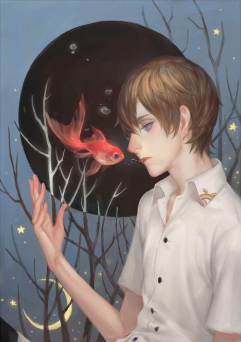 anime boy alone fish animal wallpaper