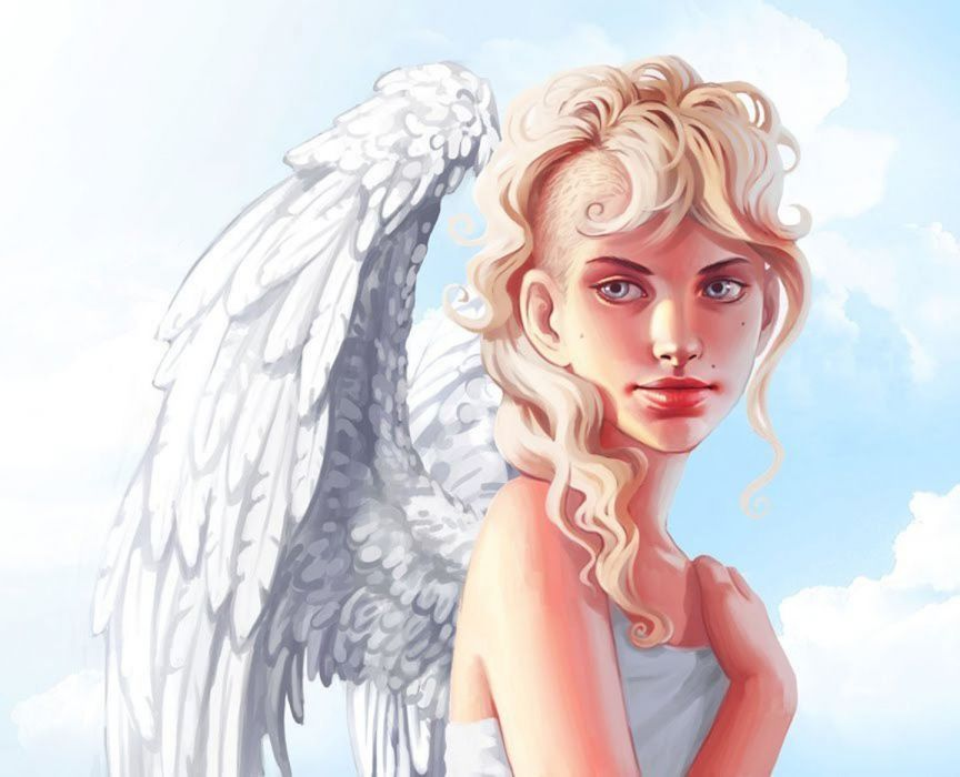 blonde angel long hair woman fantasy beautiful wallpaper