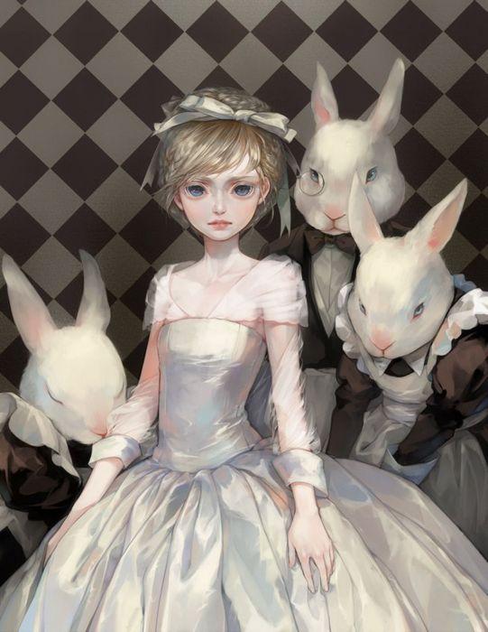 anime girl pretty beautiful long short fantasy animal rabbit dress wallpaper