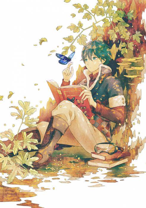 anime boy tree animal butterfly books flower wallpaper