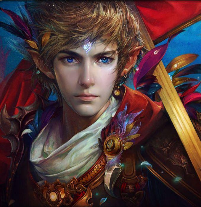 blond warrior long hair male blue eyes fantasy beautiful wallpaper