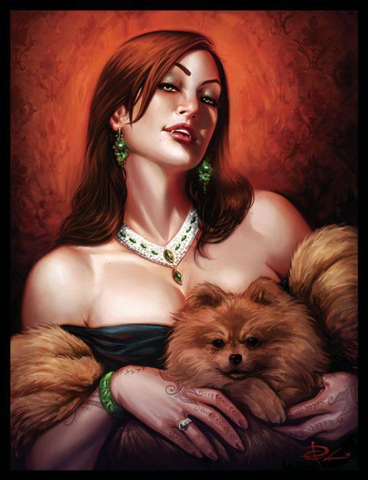 Gwen 2d illustration girl woman portrait vampire fantasy dog wallpaper