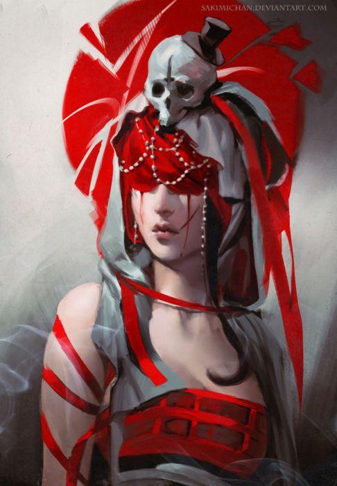 Red 2d girl woman fantasy portrait wallpaper