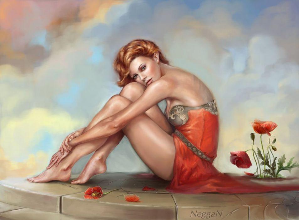2d fantasy girl woman flowers flower beautiful wallpaper