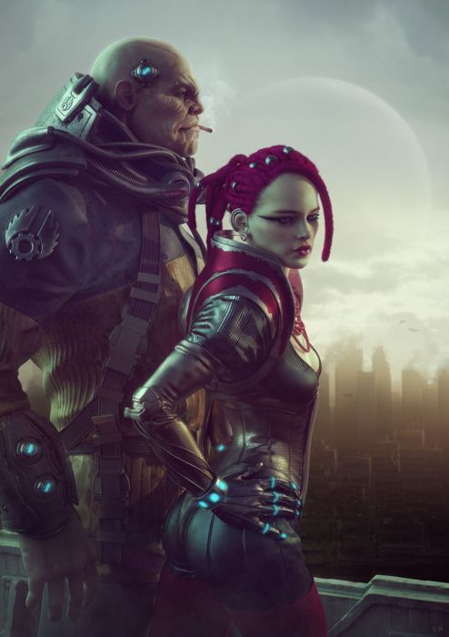 3d fantasy girl city thug portrait red hair couple group wallpaper