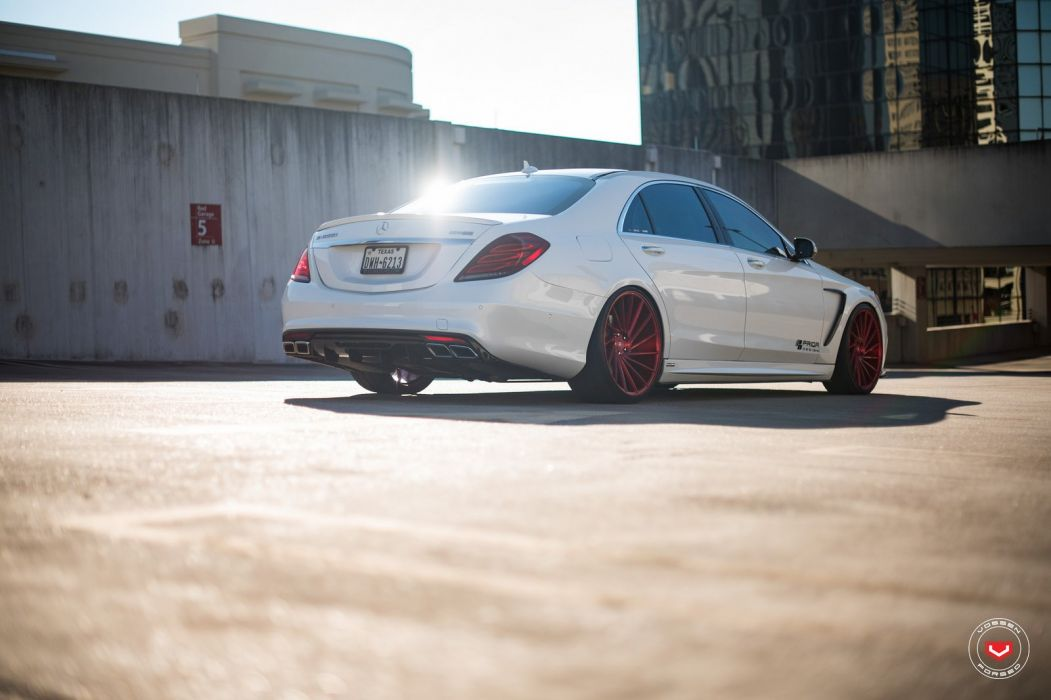 Mercedes Benz S550 Vossen wheels cars white wallpaper