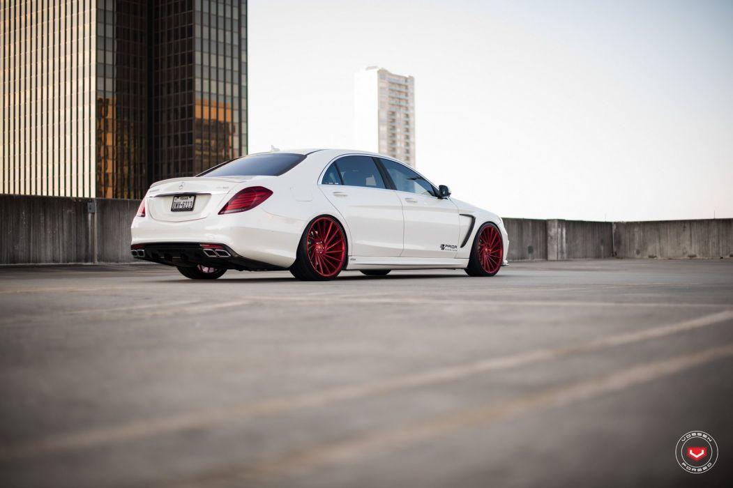 Mercedes Benz S550 Vossen wheels cars white wallpaper