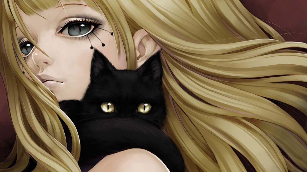 chica rubia manga anime gato negro wallpaper
