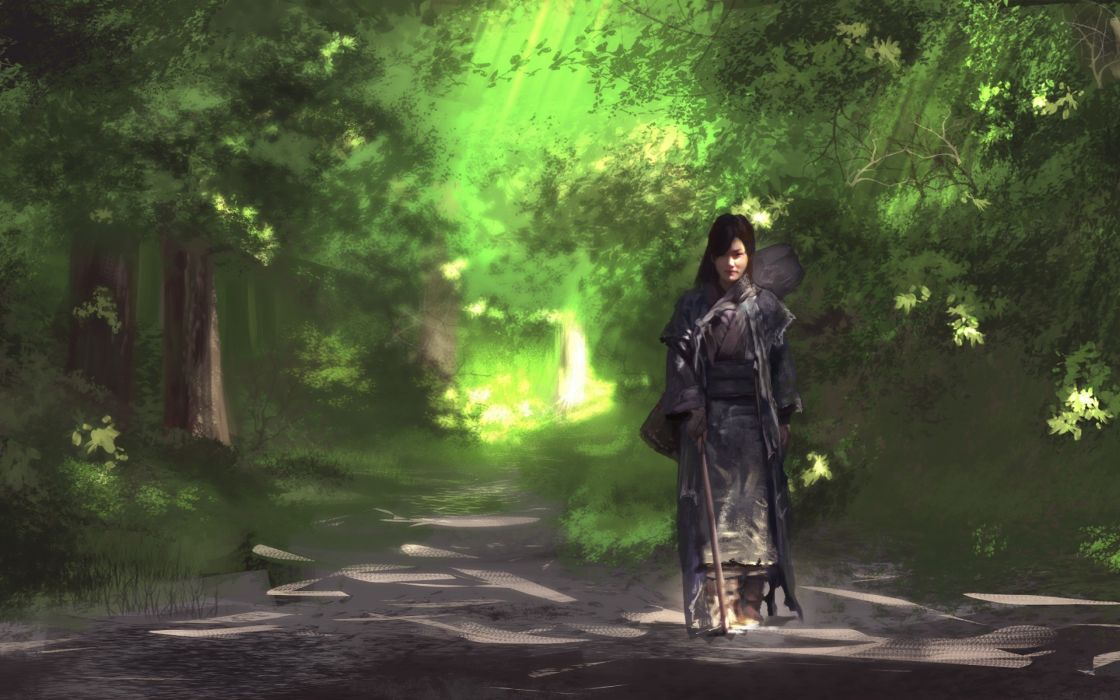 forest trees nature landscape tree mood art artwork girl fantasy wallpaper