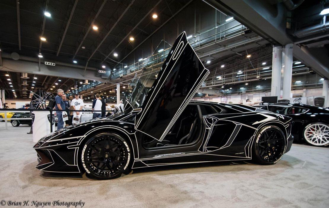 Black Tron Lamborghini Aventador cars supercars modified wallpaper