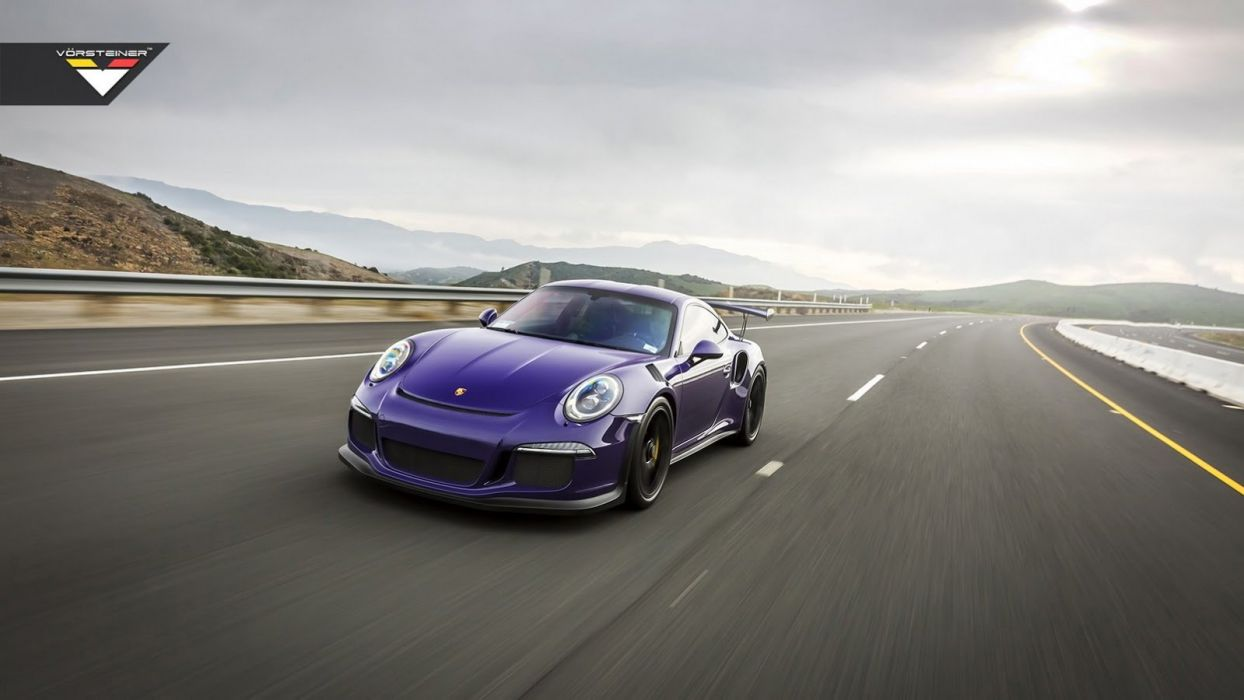 Purple Vorsteiner Porsche 911 GT3 RS cars modified wallpaper