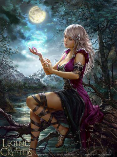 fantasy girl woman beauty beautiful tree long hair moon dress wallpaper