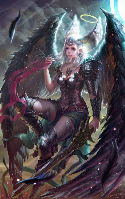 fantasy girl woman beauty beautiful tree dress long hair wings wallpaper