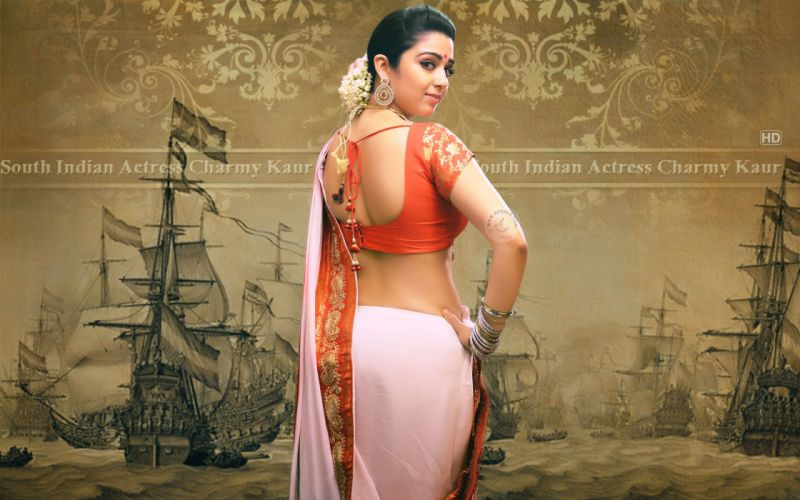 Charmy Kaur bollywood actress model girl beautiful brunette pretty cute beauty sexy hot pose face eyes hair lips smile figure indian saree sari wallpaper