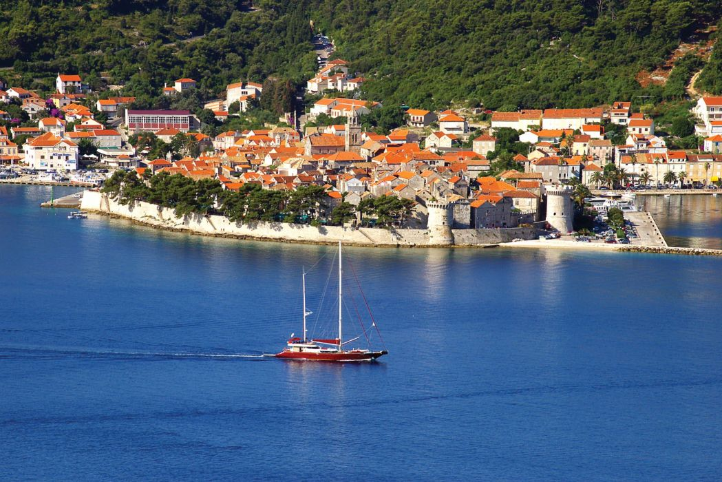 Croatia Houses Coast Corchula Cities wallpaper