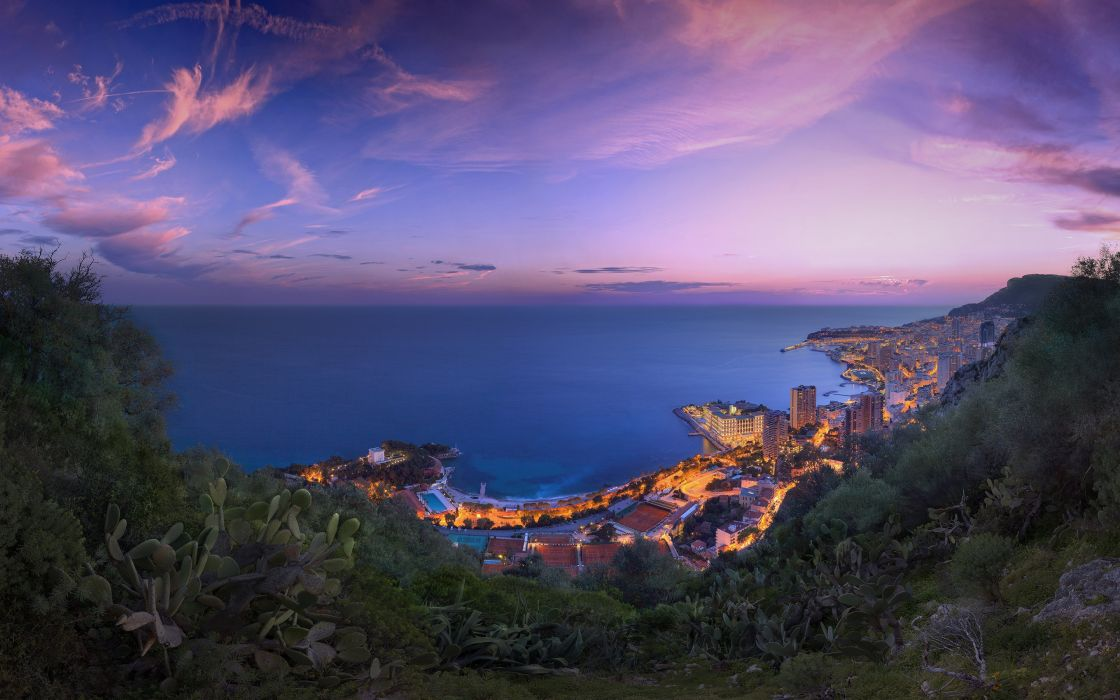 Coast Sea Monaco Scenery Sky Cities wallpaper