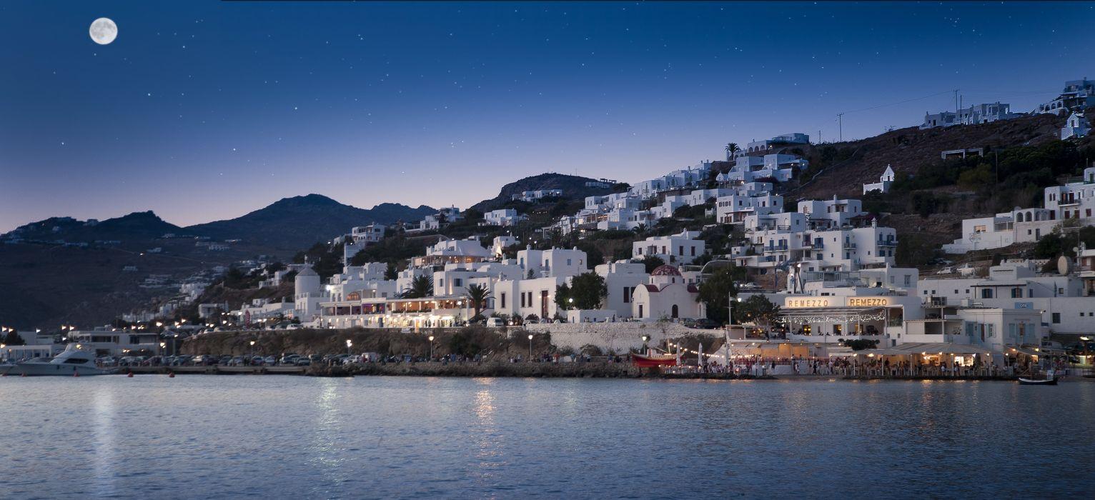 Coast Houses Sky Greece Moon mykonos mediterranean Cities wallpaper
