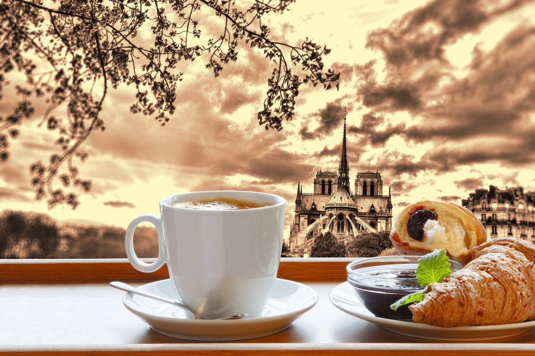 Coffee Croissant France Paris Cup breakfast Food Cities wallpaper