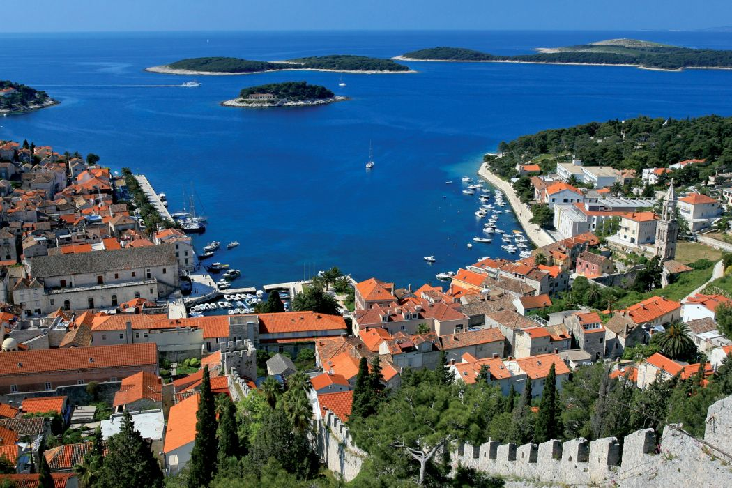 Croatia Houses Island Marinas Hvar Cities wallpaper