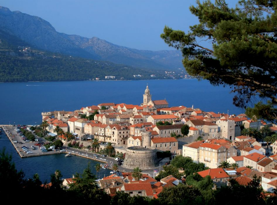 Croatia Houses Marinas Mountains Sea Korcula Cities wallpaper