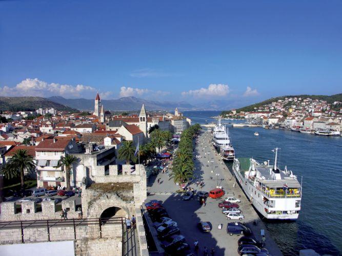 Croatia Houses Marinas Ships Sky Trogir Cities wallpaper