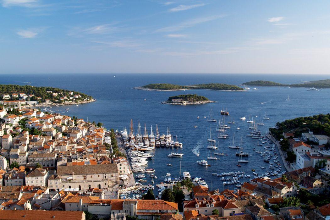 Croatia Houses Sea Marinas Ships Hvar Cities wallpaper