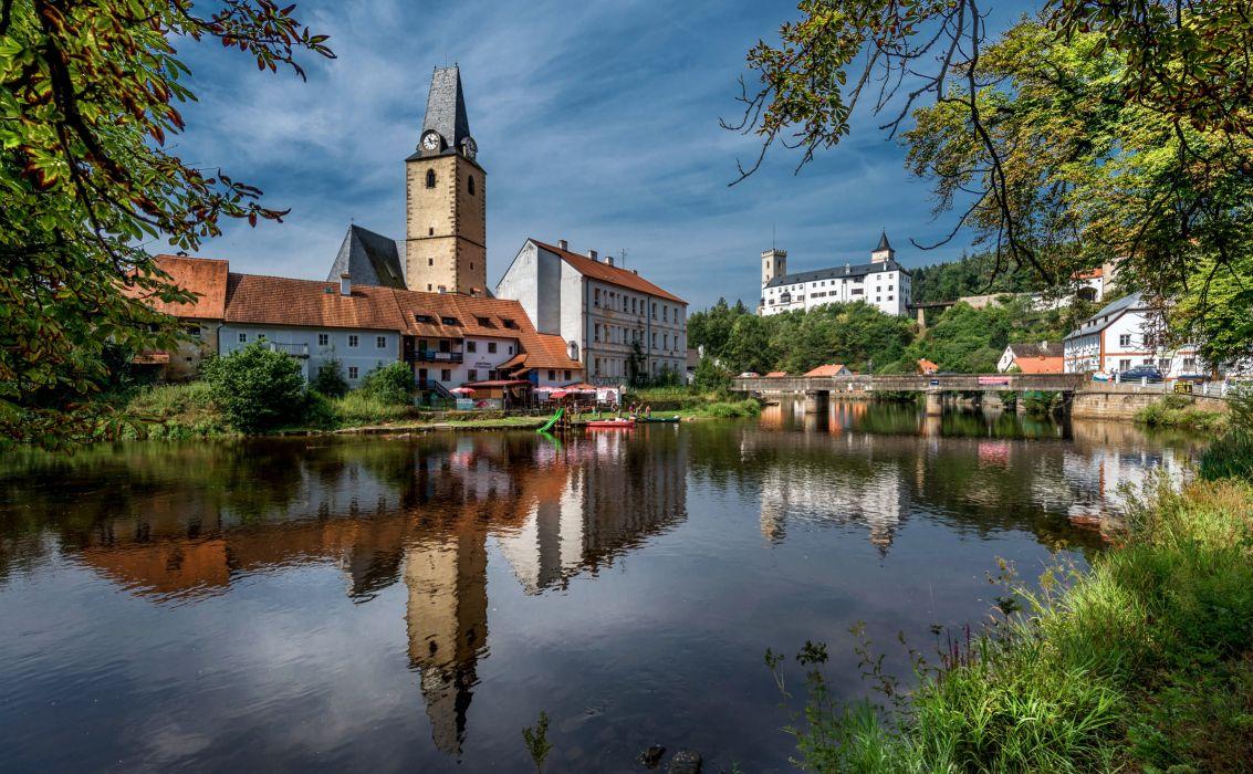 Czech Republic Houses Rivers Bridges Rozmberk Nad Vltavou Cities wallpaper