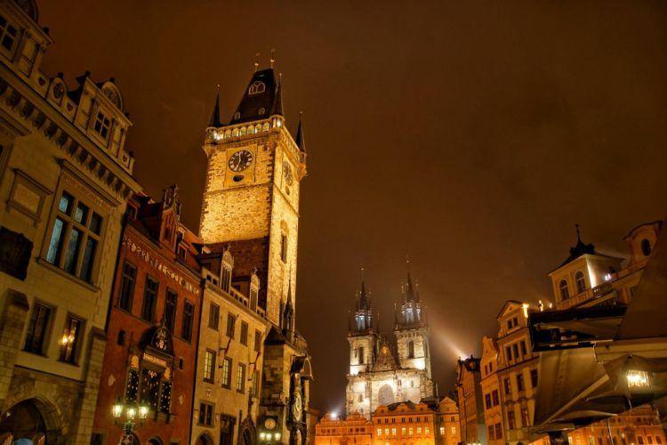 Czech Republic Prague Houses Night Cities wallpaper