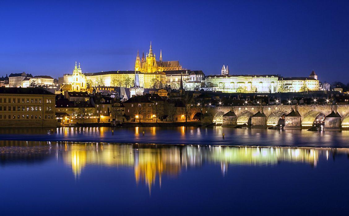 Czech Republic Prague Castles Rivers Bridges Night Street lights Prague Castle Charles Bridge Cities wallpaper