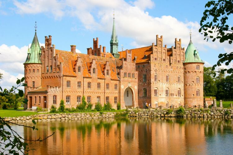 Denmark Castles Pond Egeskov Castle Cities wallpaper