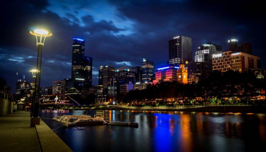 Australia Houses Rivers Night Street lights Melbourne Cities wallpaper