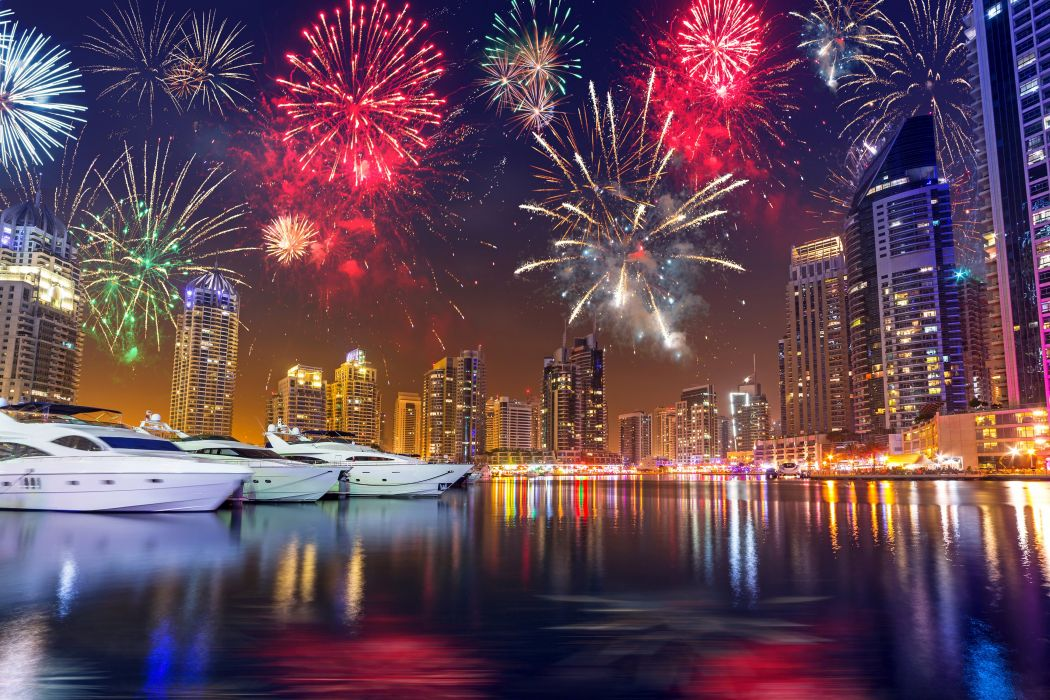 Dubai Emirates UAE Skyscrapers Christmas Marinas Fireworks Night Cities wallpaper