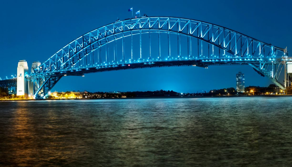 Australia Rivers Bridges Sydney Night Street lights Cities wallpaper