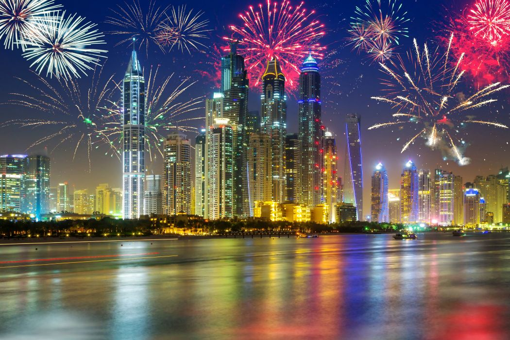 Dubai Emirates UAE Skyscrapers Holidays Christmas Fireworks Night Cities wallpaper