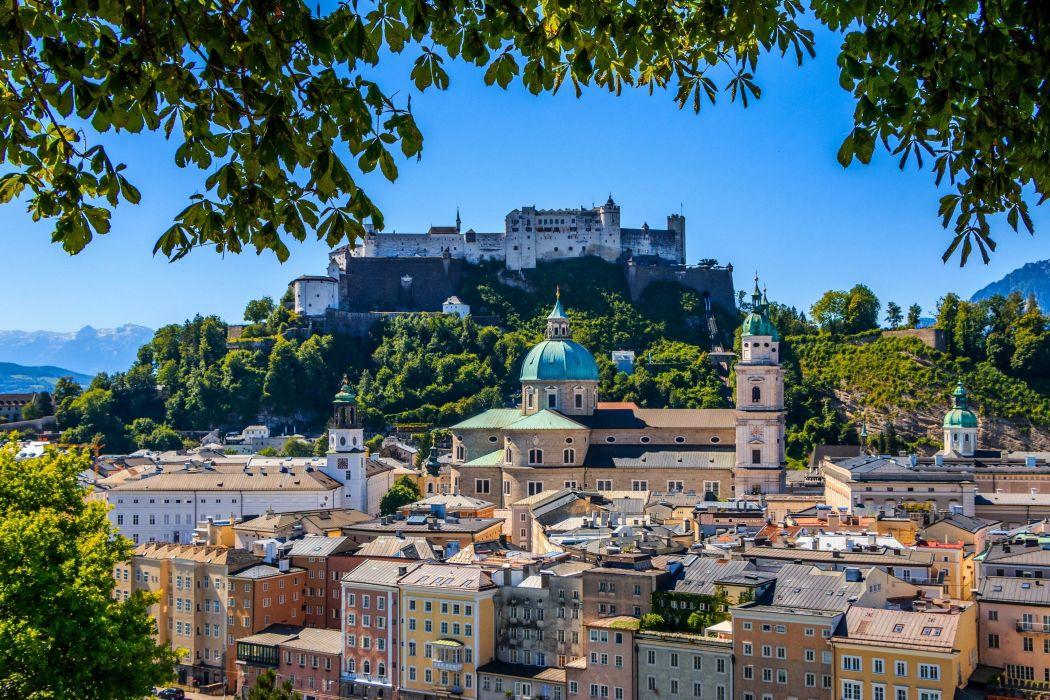 Austria Fortress Temples Houses Hohensalzburg Castle Festungsberg Salzburg Cathedral Salzburg Cities wallpaper