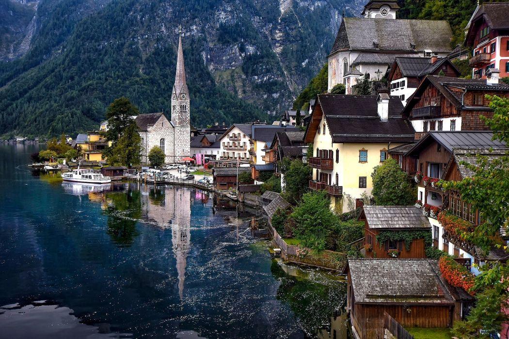 Austria Lake Houses Alps Hallstatt Lake Cities wallpaper