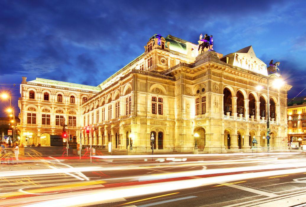 Austria Houses Roads Night Street lights Motion Vienna state opera Cities wallpaper