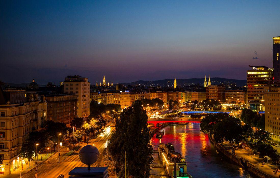 Austria Houses Roads Rivers Bridges Night Street lights Vienna Cities wallpaper