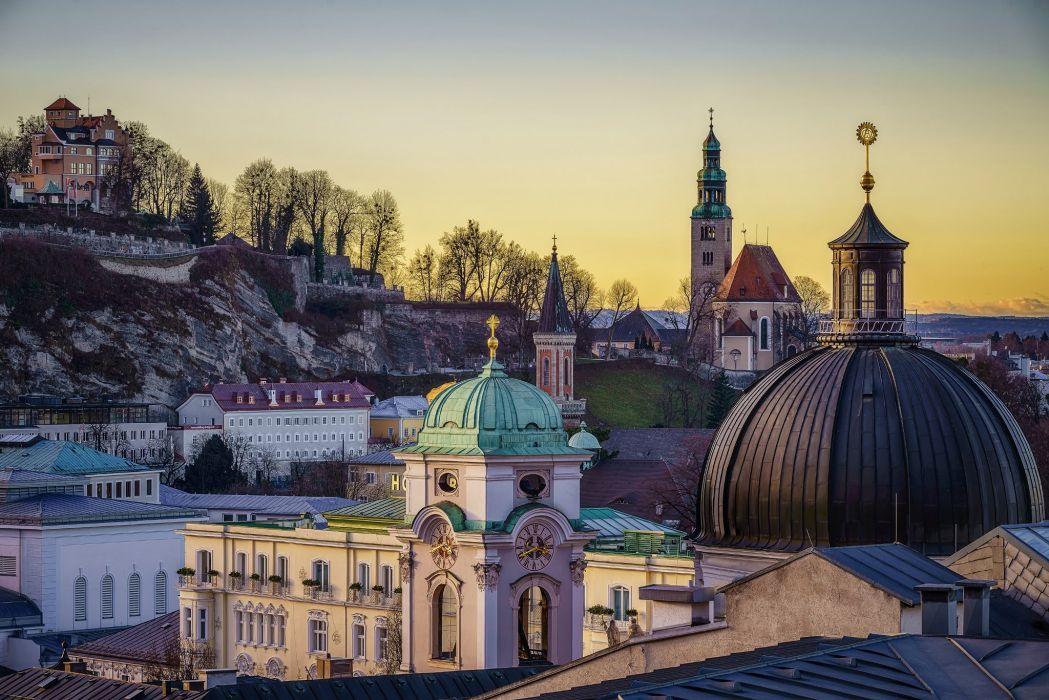 Austria Temples Houses Salzburg Cities wallpaper