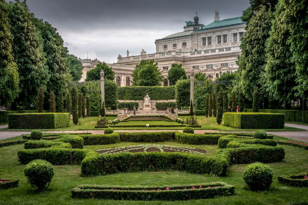Austria Parks Gardens Shrubs Volksgarten People's Garden Vienna Empress Elizabeth Monument Burgtheater Hofburg Palace Cities wallpaper
