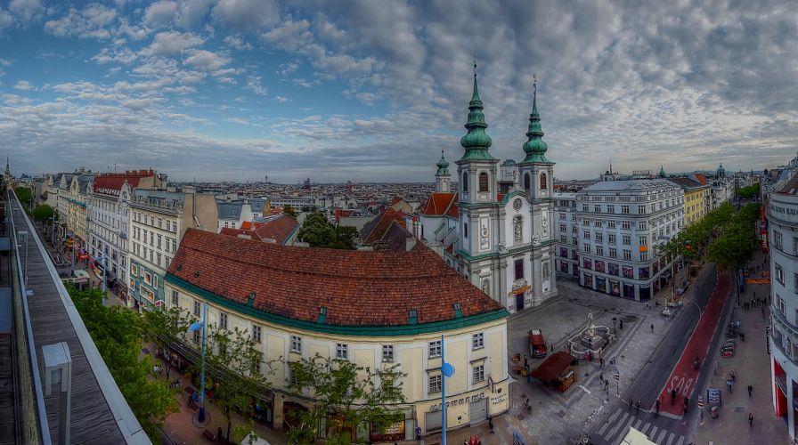 Austria Temples Houses Sky Street Vienna Mariahilf Cities wallpaper