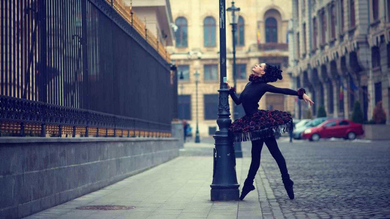 Ballet Dress Street Urban Swan Black Cities Girls wallpaper