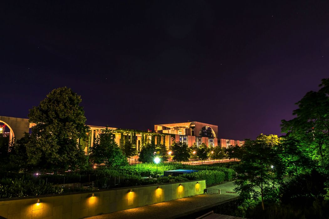 Berlin Germany Houses HDR Shrubs Night Street lights Cities wallpaper