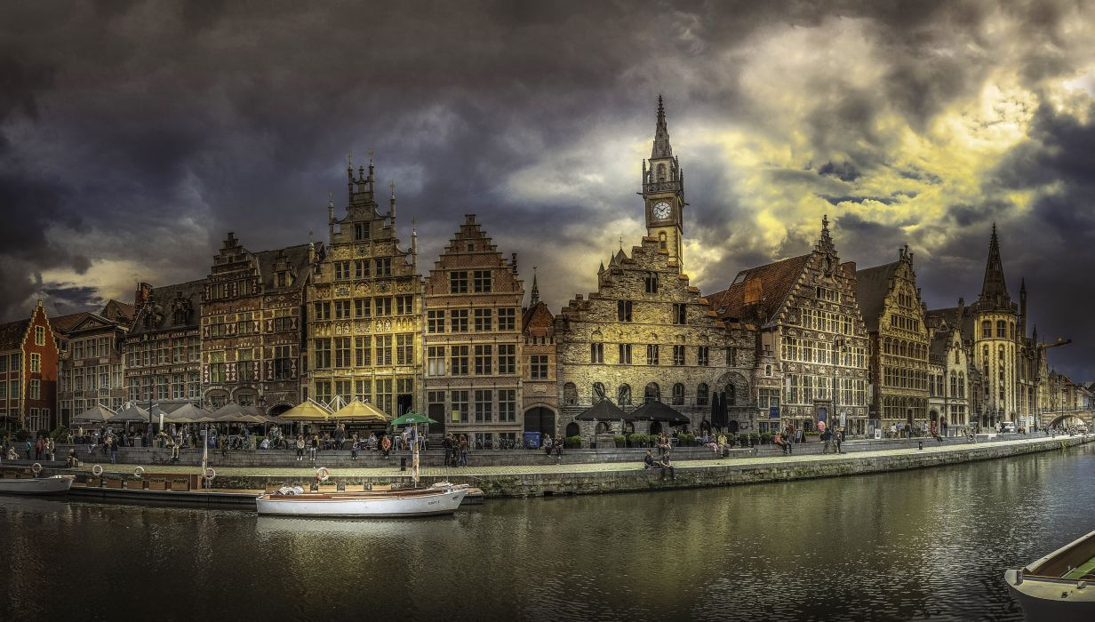 Belgium Houses Rivers Motorboat Coast Waterfront Gent Cities wallpaper