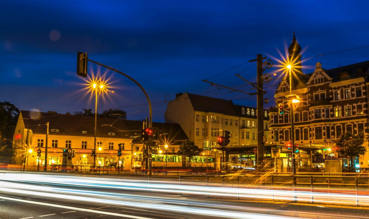 Berlin Germany Houses HDR Street Night Street lights Motion Cities wallpaper