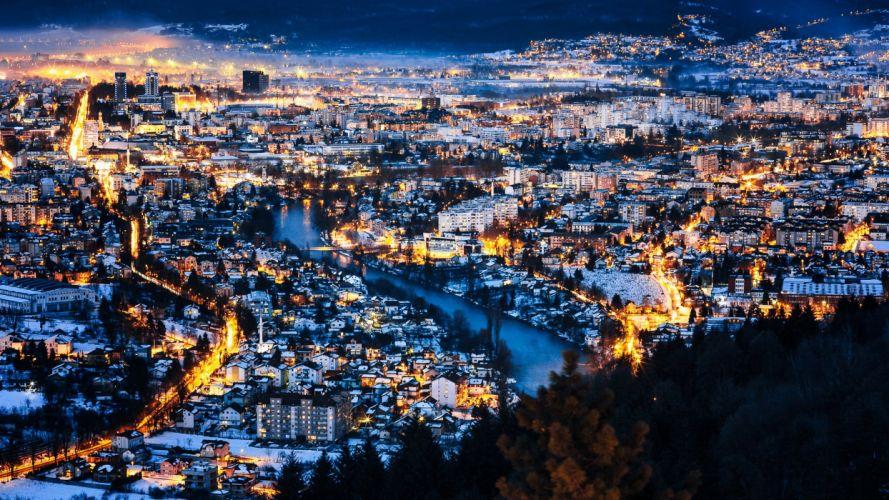 Bosnia and Herzegovina Houses Scenery Rivers Night Street lights Banja Luka Cities wallpaper